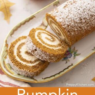 A pumpkin roll cake on a porcelain tray.