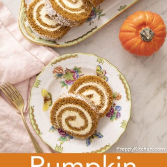 A plate with pieces of pumpkin roll cake next to the cake.