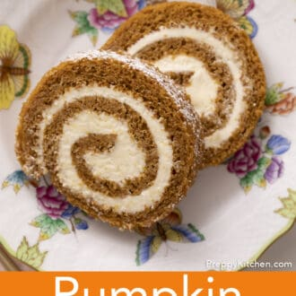 Two pieces of pumpkin roll cake on a porcelain plate.