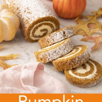 A pumpkin roll cake dusted with powdered sugar.