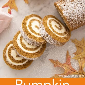 Four Pieces of pumpkin roll cake.
