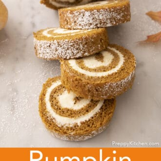 A pumpkin roll cake filled with cream cheese frosting.