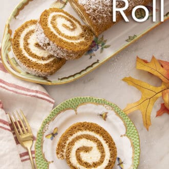 A piece of pumpkin roll cake on a green and white plate.