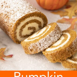 A pumpkin roll dusted with powdered sugar.