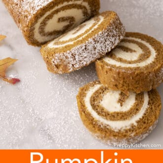 Three pieces of a pumpkin roll cake.