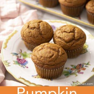 Three pumpkin muffins on a porcelain plate.