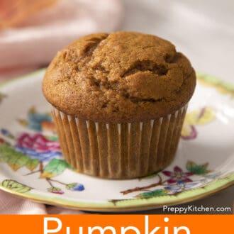 A pumpkin muffin on a porcelain plate.