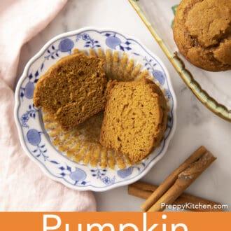Pumpkin muffins on a plate next to some cinnamon sticks.