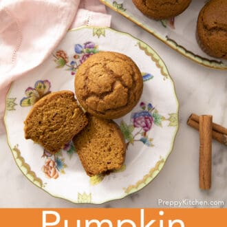 A top-down photo of pumpkin muffins on a porcelain plate.
