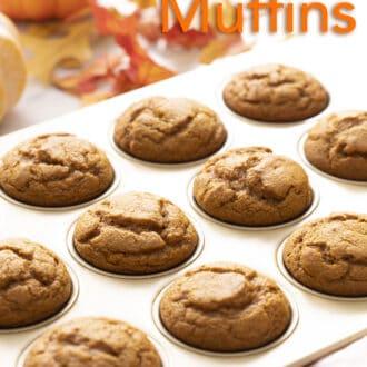 Twelve pumpkin muffins in a muffin tin.