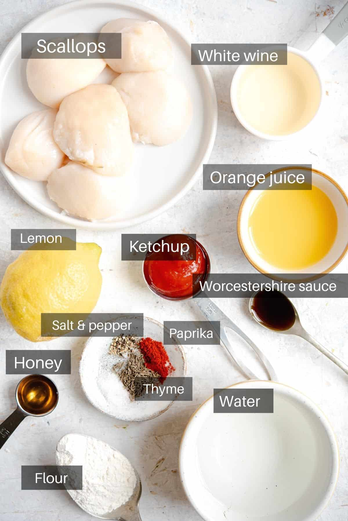 An overhead shot of all the ingredients you need to make sauteed scallops and sauce