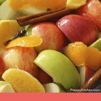 A slowcooker with ingredients to make apple cider.