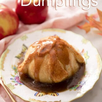 An apple dumpling covered in syrup.