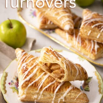 Apple turnovers on a marble counter.