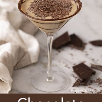 A chocolate martini garnished with shaved chocolate.