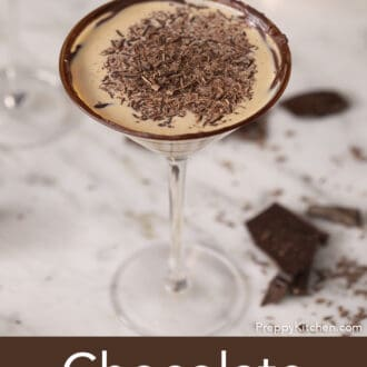 A chocolate martini on a counter.