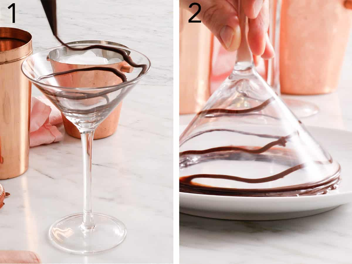 Chocolate getting drizzled into a martini glass.