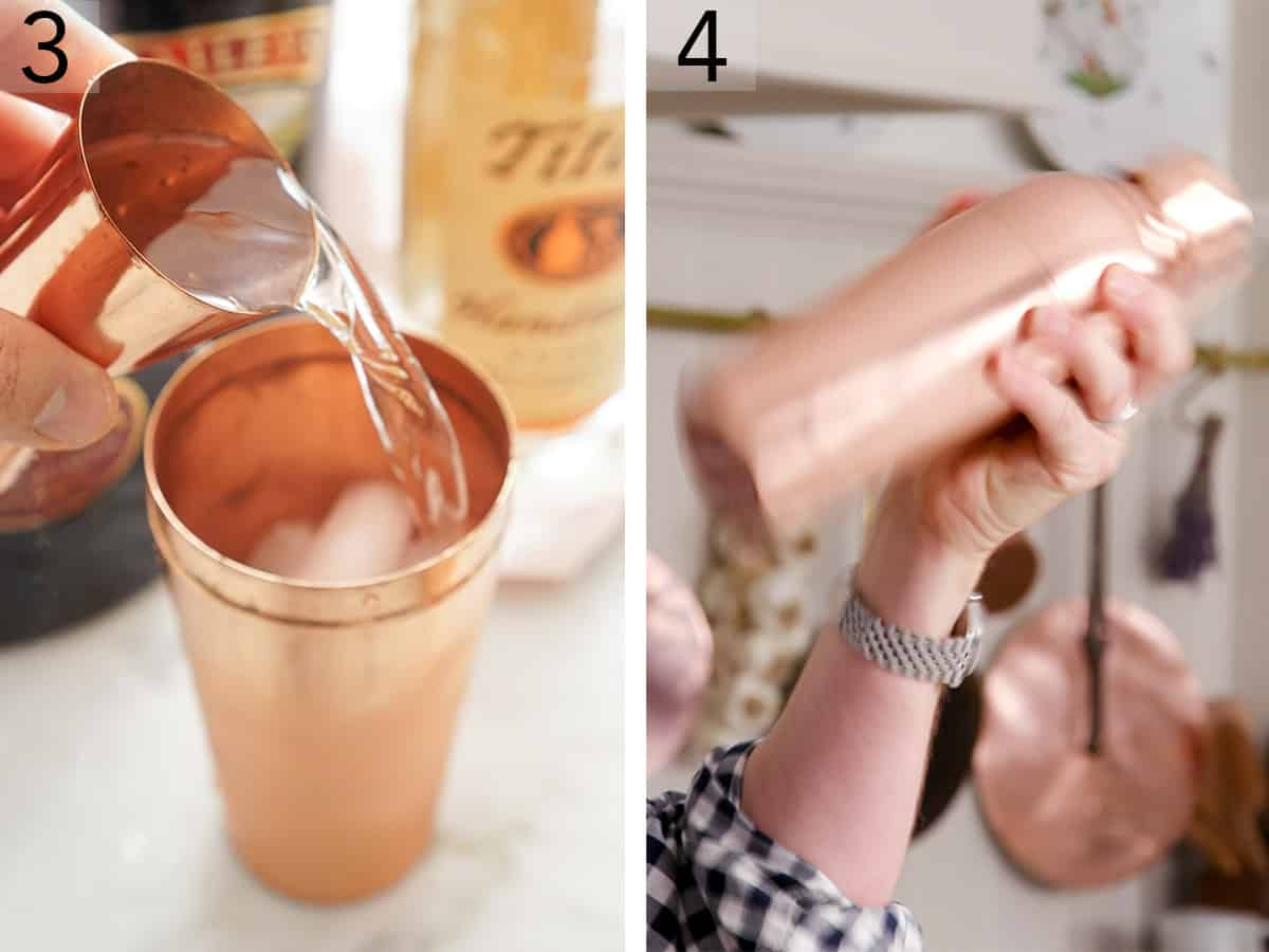Vodka pouring into a copper cocktail shaker.