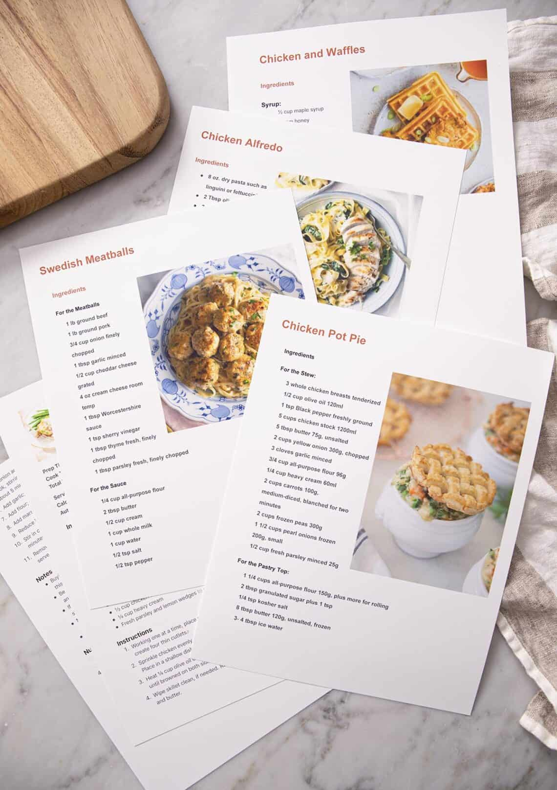 Printed recipes from Preppy Kitchen