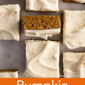 Pumpkin bars on a marble countre.