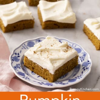 A pumpkin bar on a blue and white plate.