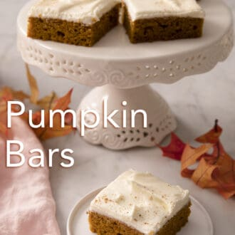 Five pumpkin bars next to a pin napkin.