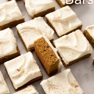 Pumpkin bars arranged in a grid.
