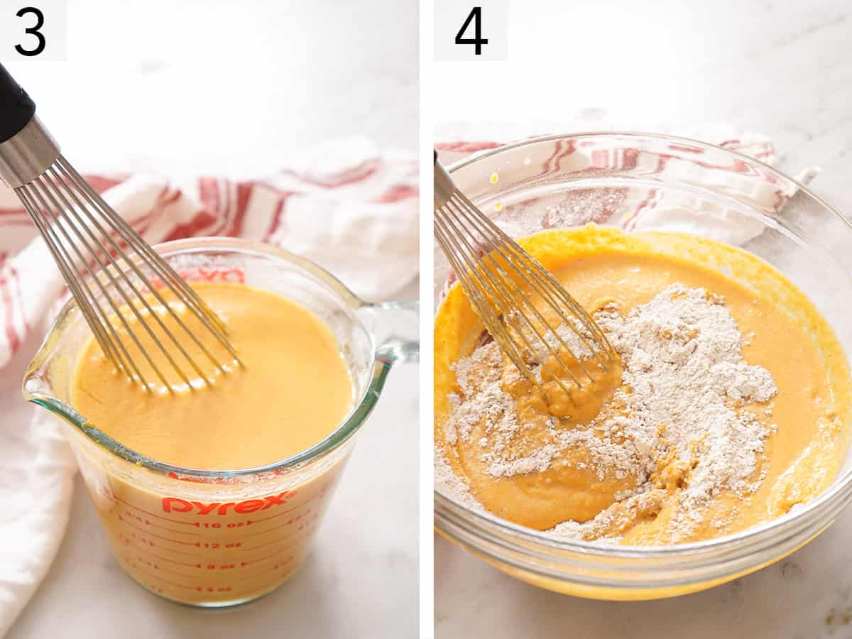 Pumpkin pancake batter getting whisked together in a glass bowl.