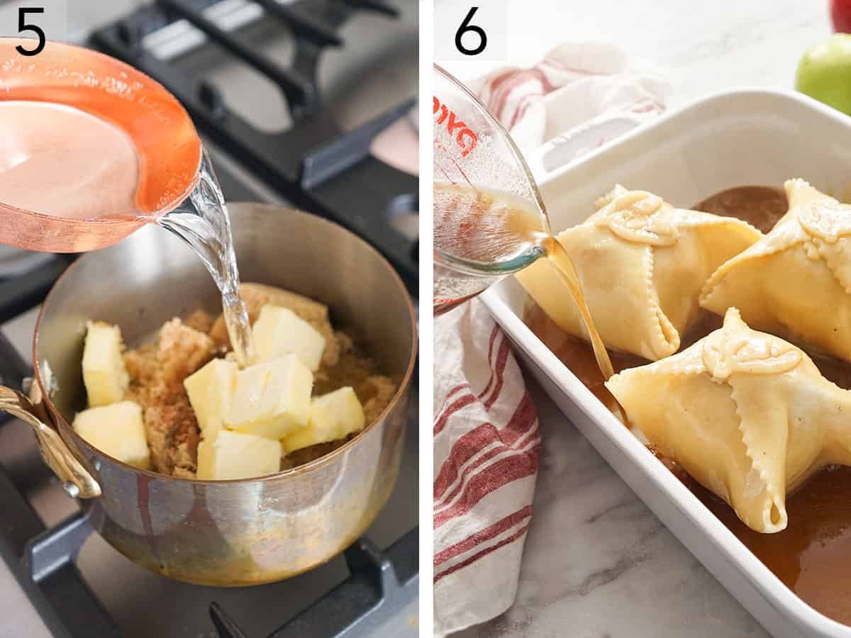 A brown sugar syrup getting melted in a pot and poured over apple dumplings.
