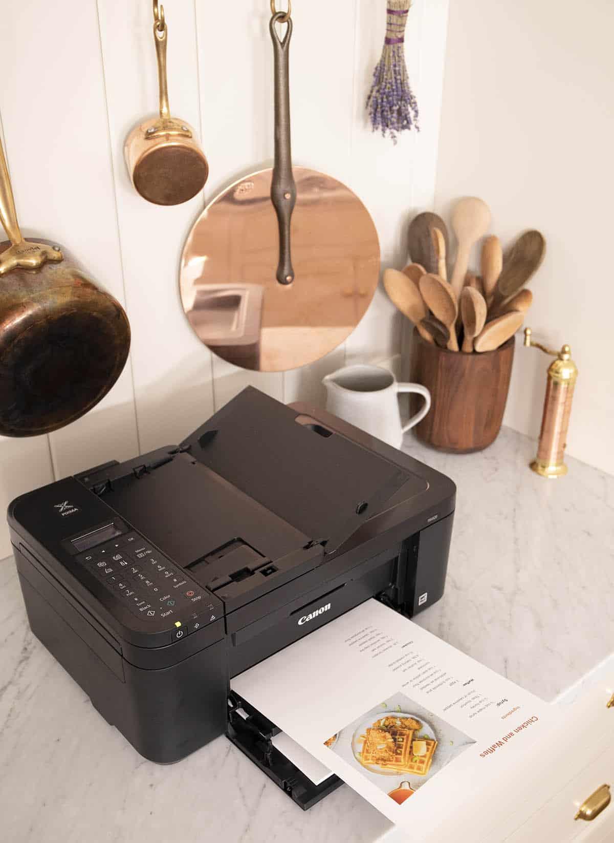 Ca black Canon printer in my kitchen.