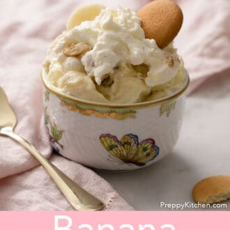 Banana pudding in a porcelain bowl