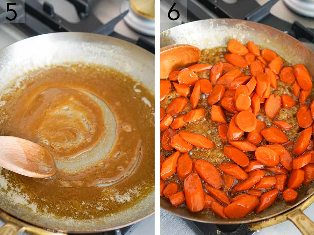 Carrots getting glazed in a large pan.