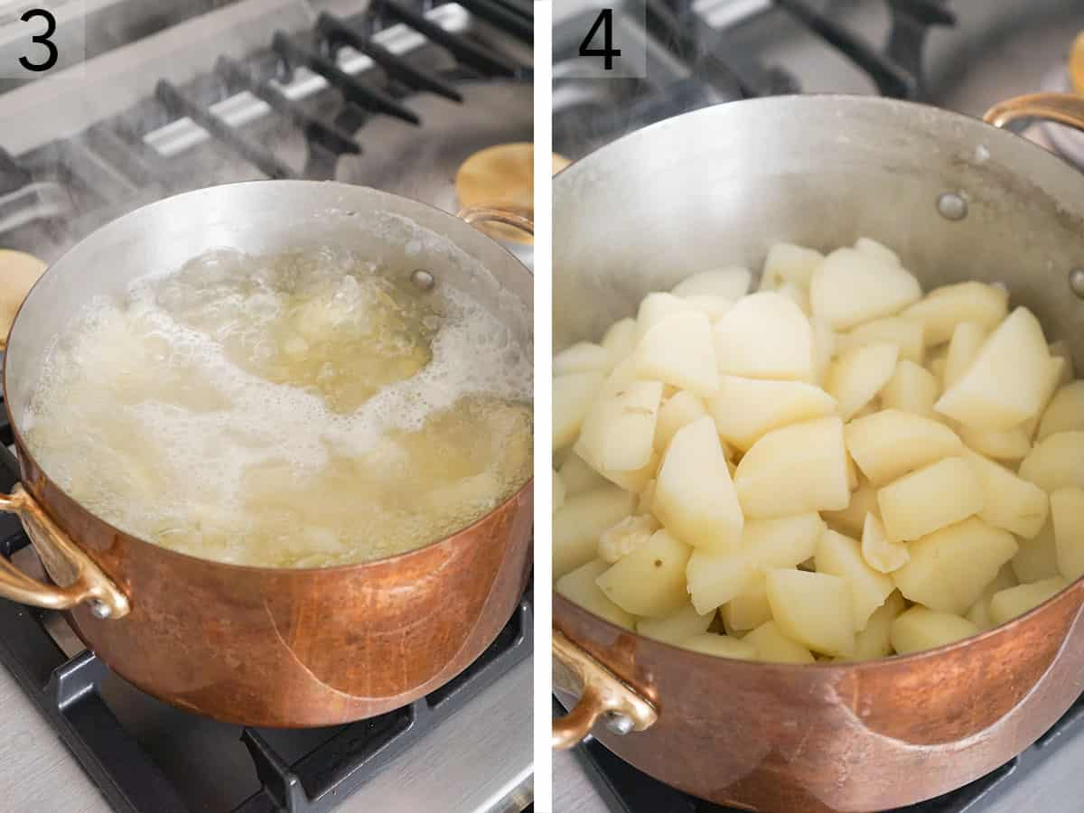 Cut potatoes getting boiled in a large pot.