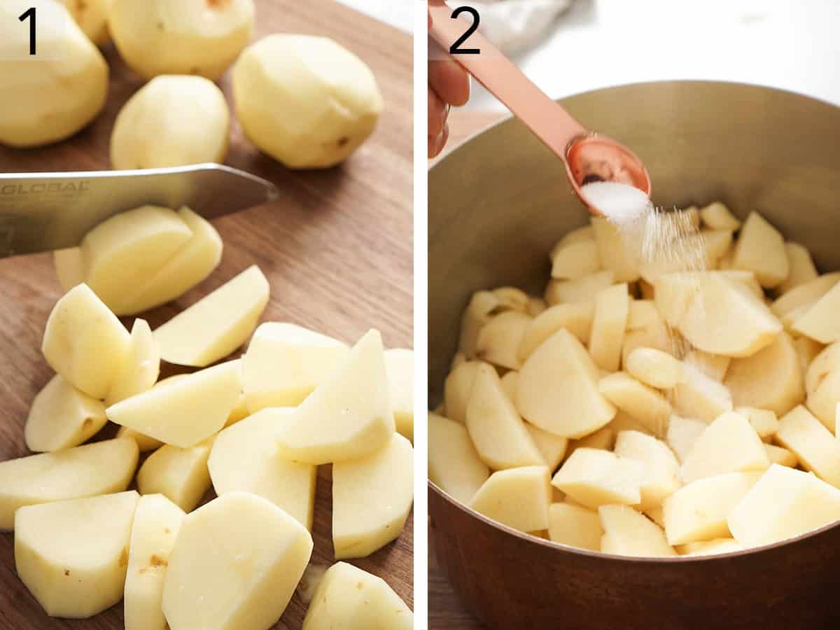 Peeled potatoes getting cut into slices and placed in a pot.