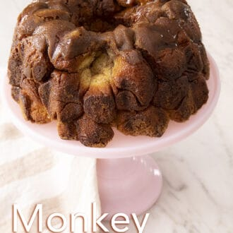 Monkey bread on a pink cake stand