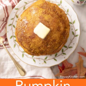 A top-down view of pumpkin pancakes on a plate.
