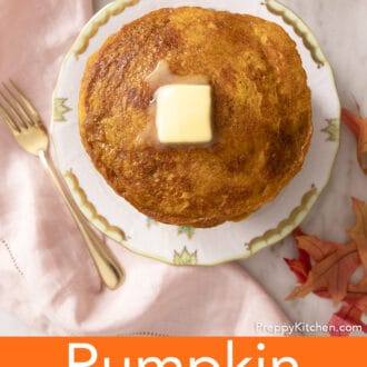 A top-down view of delicious pumpkin pancakes on a plate.