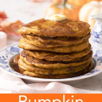 A side view of a stack of pumpkin pancakes.