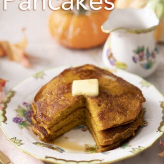 A stack of three pumpkin pancakes.