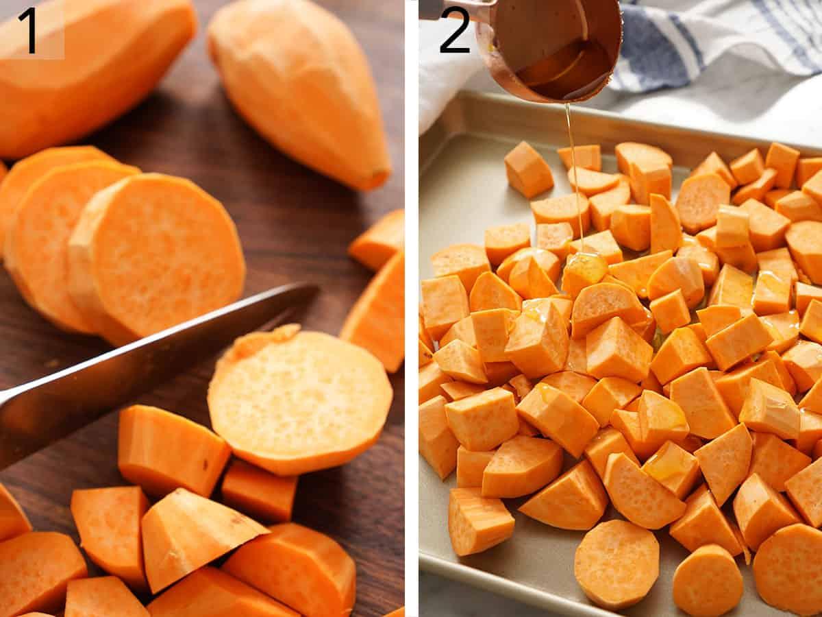 Peeled sweet potatoes getting chopped.