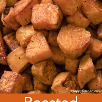 Roasted sweet potatoes with flecks of black pepper.
