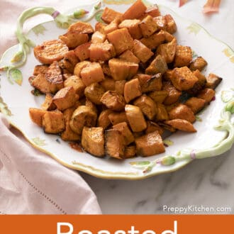 Roasted sweet potatoes on a floral tray