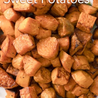 Roasted sweet potatoes on a tray