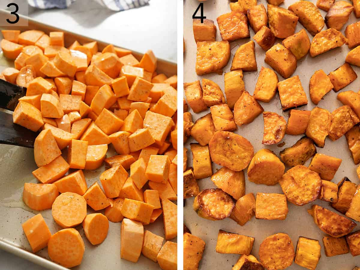 Cubed sweet potatoes on a baking pan.