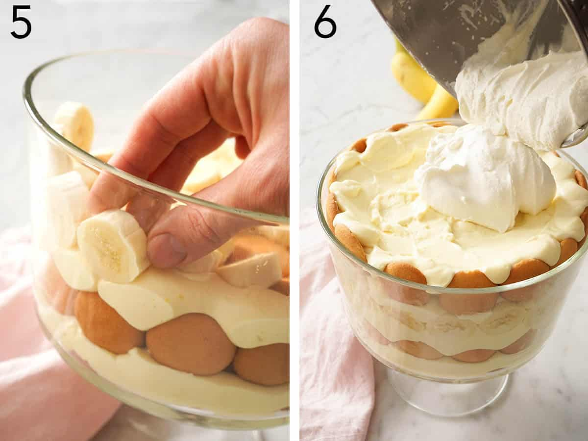 Banana pudding getting assembled in a trifle bowl with Nilla cookies and banana slices.