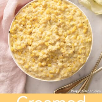 Creamed corn in a white bowl
