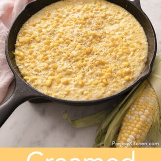 Creamed corn in an iron skillet