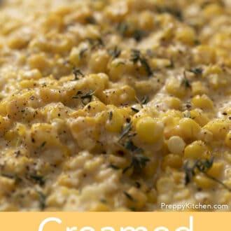 closeup of creamed corn