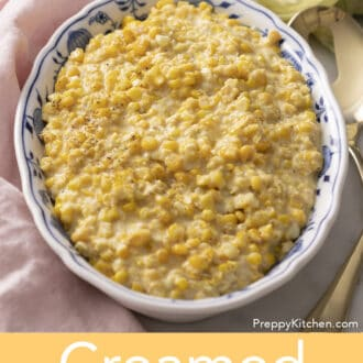 Creamed corn in a blue and white bowl
