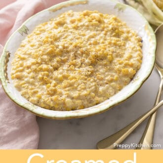 Creamed corn in a serving dish